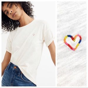 Madewell heart embroidered whisper cotton crewneck